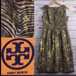 Tory Burch Silk Metallic Gold Sheath Dress